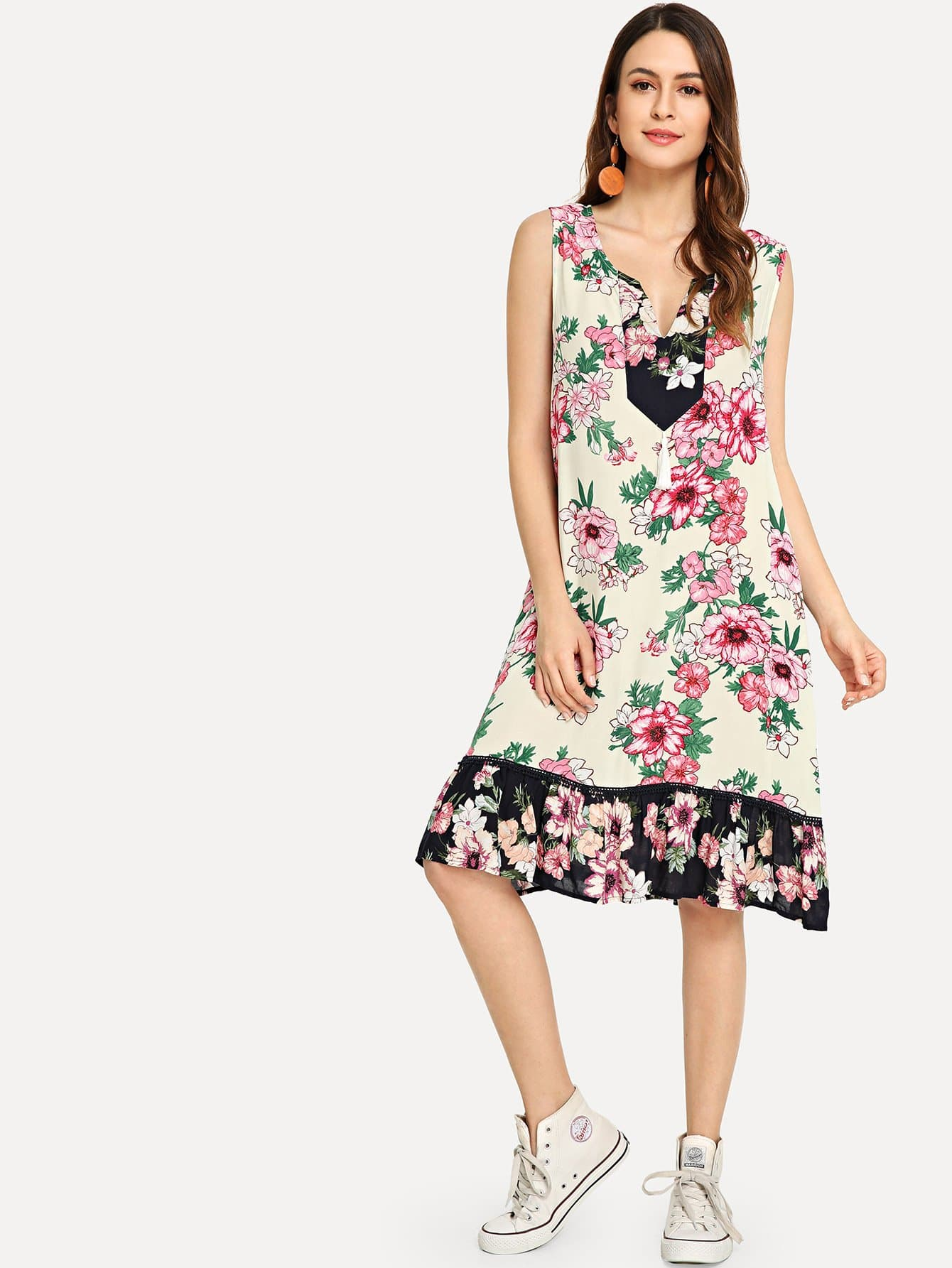 Tassel Detail Flower Print Ruffle Hem Dress, Jana, SheIn  - купить со скидкой