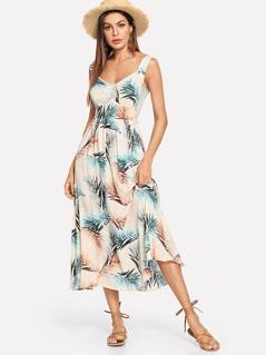 Palm Leaf Print Fit & Flare Dress