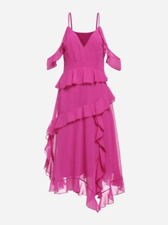Neon Pink Ruffle Detail Cold Shoulder Dress