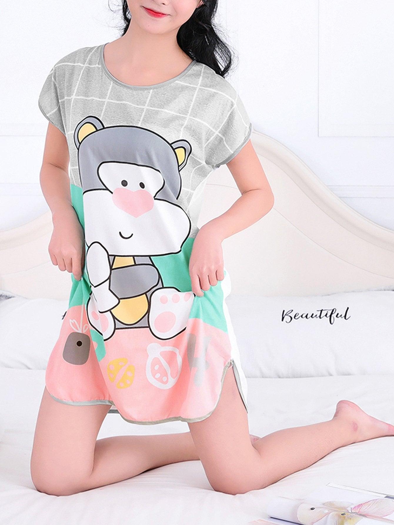 Купить Ночное платье в клетку с принтом медвежонок, null, SheIn