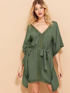 Lace Contrast V-Neck Belted Dress