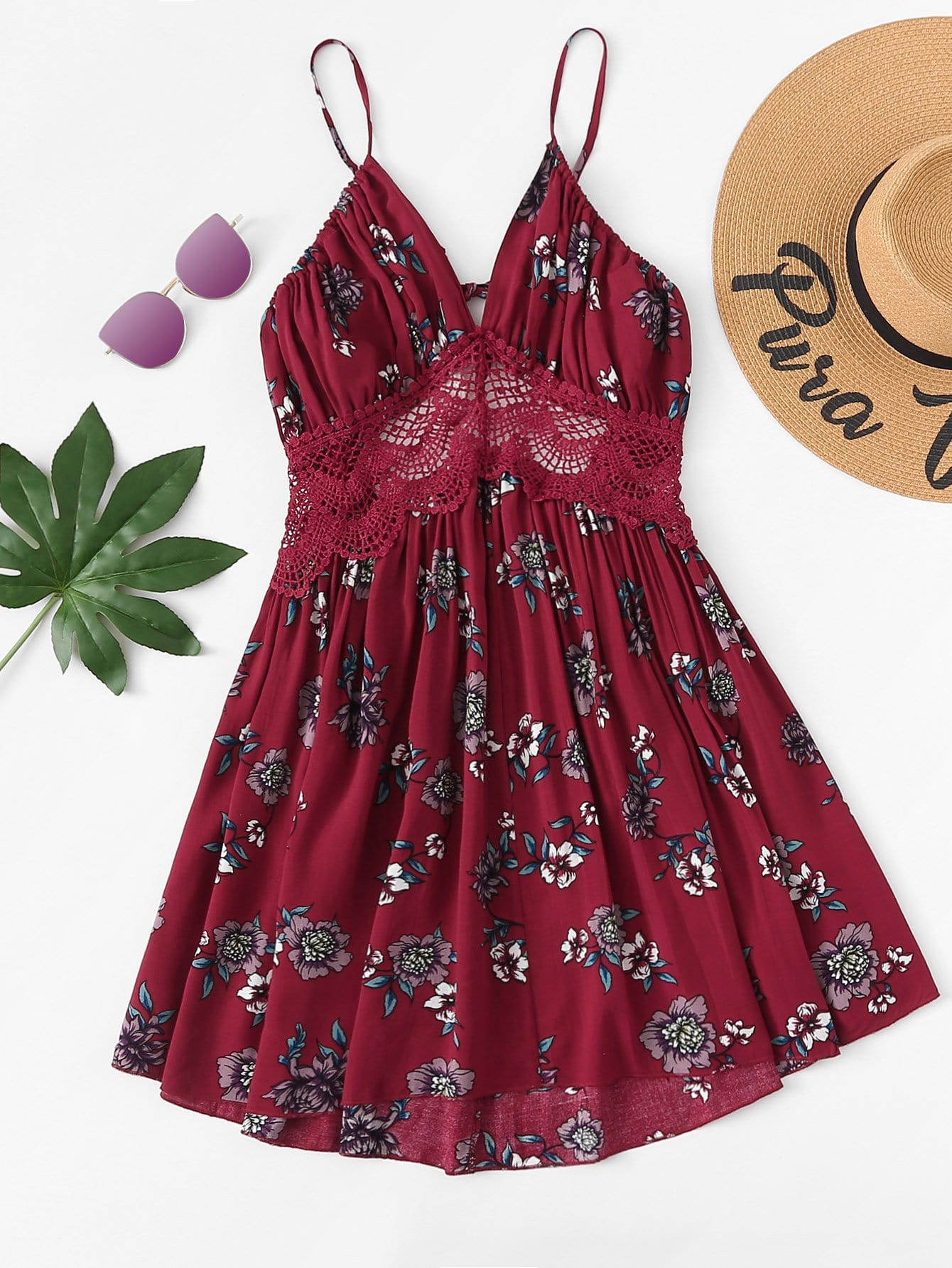 Купить Кружевное контрастное Холтер Шея Цветочное платье, null, SheIn