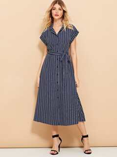 Button Front Belted Striped Dress