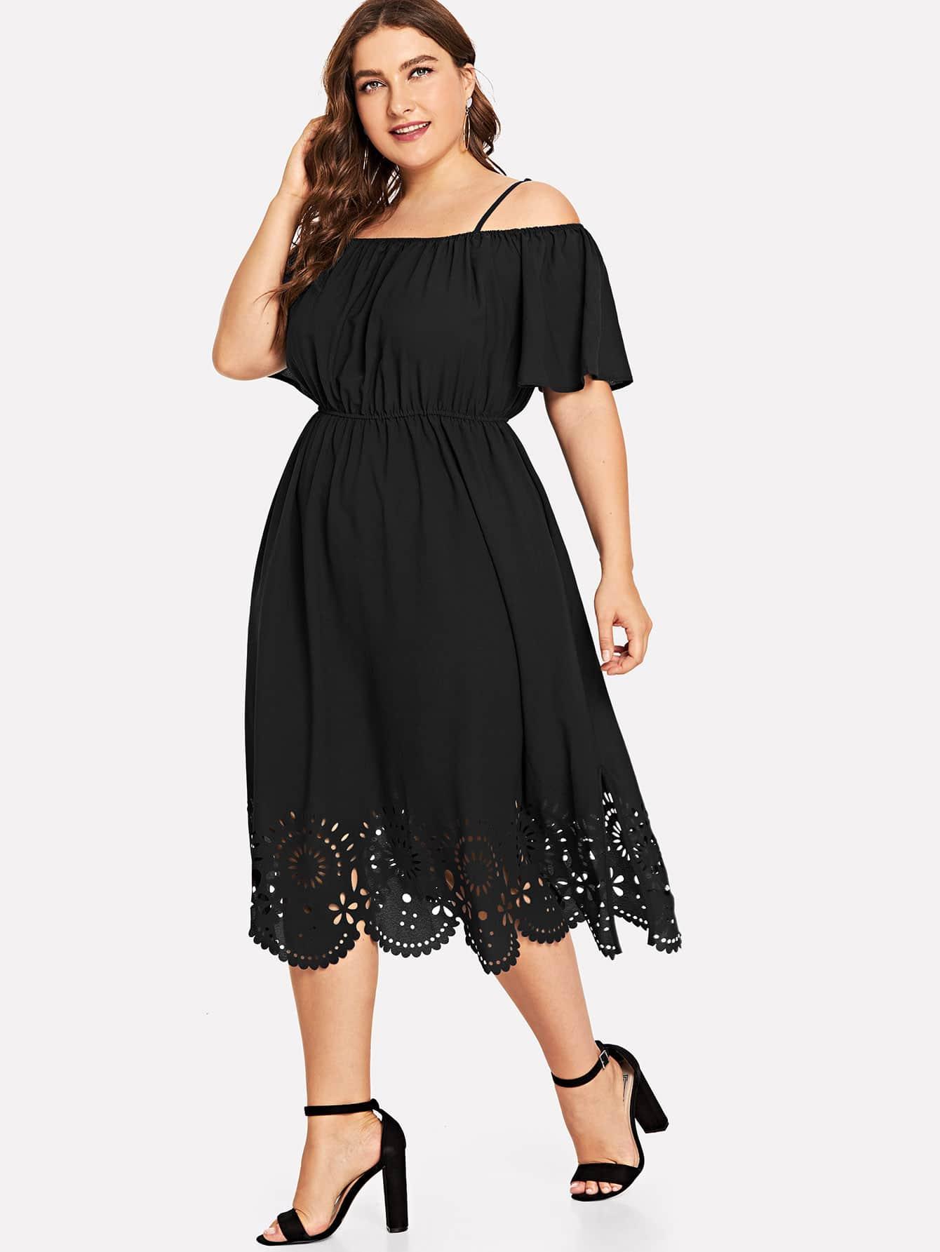 Большое платье без бретелек и Веерообразный лазерный подол, Franziska, SheIn  - купить со скидкой