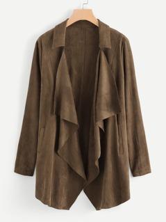 Waterfall Collar Suede Coat