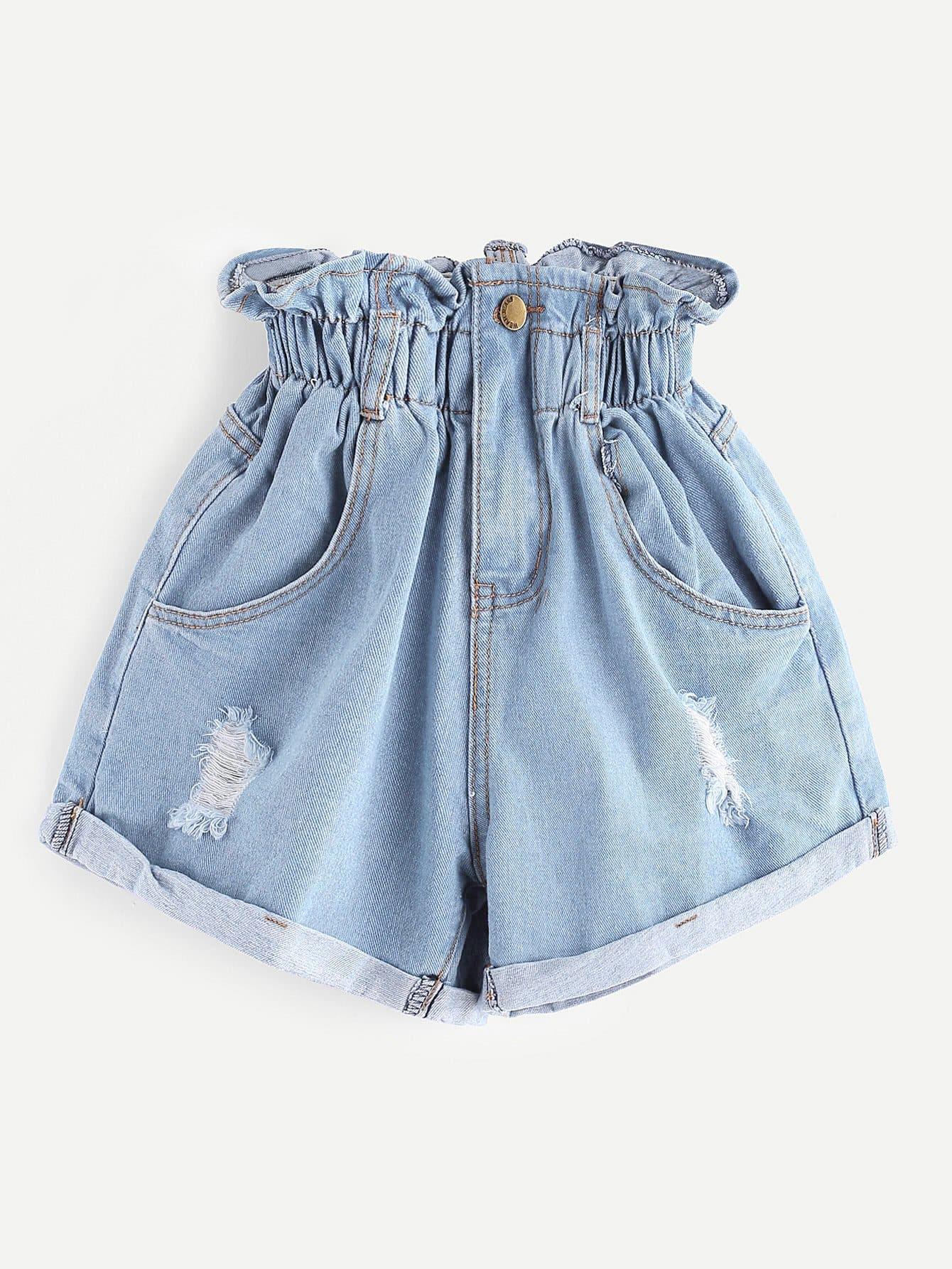 Купить Эластичная талия, оборванная джинсовая юбка, null, SheIn