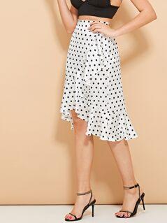 Ruffle Dip Hem Dot Skirt