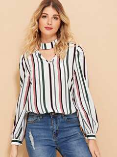 Choker V Cut Striped Top