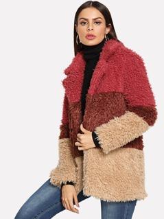 Colorblock Faux Fur Teddy Coat