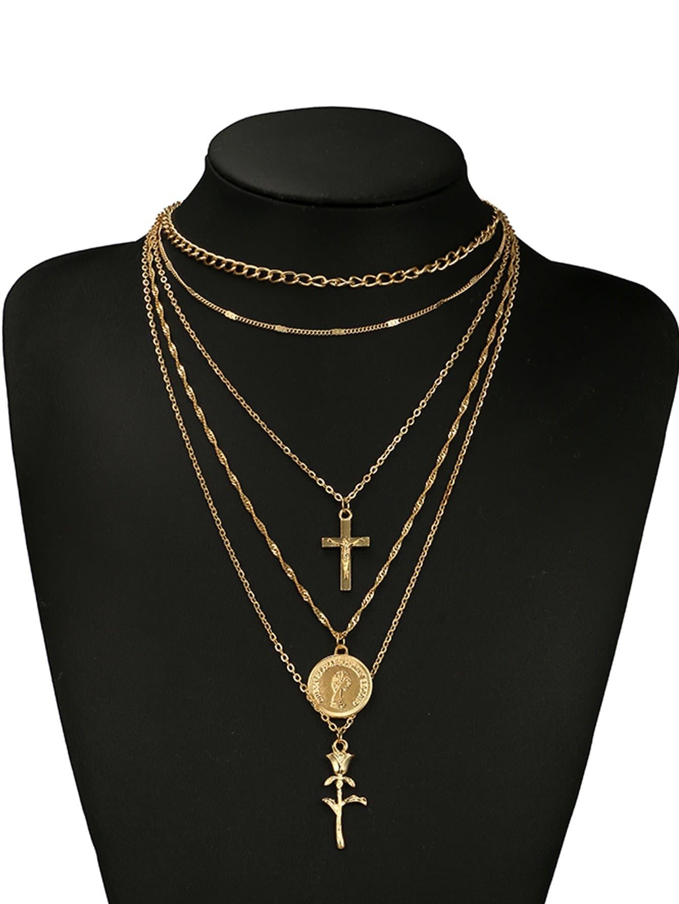 Kreuz und Rose Anhänger geschichteten Halskette