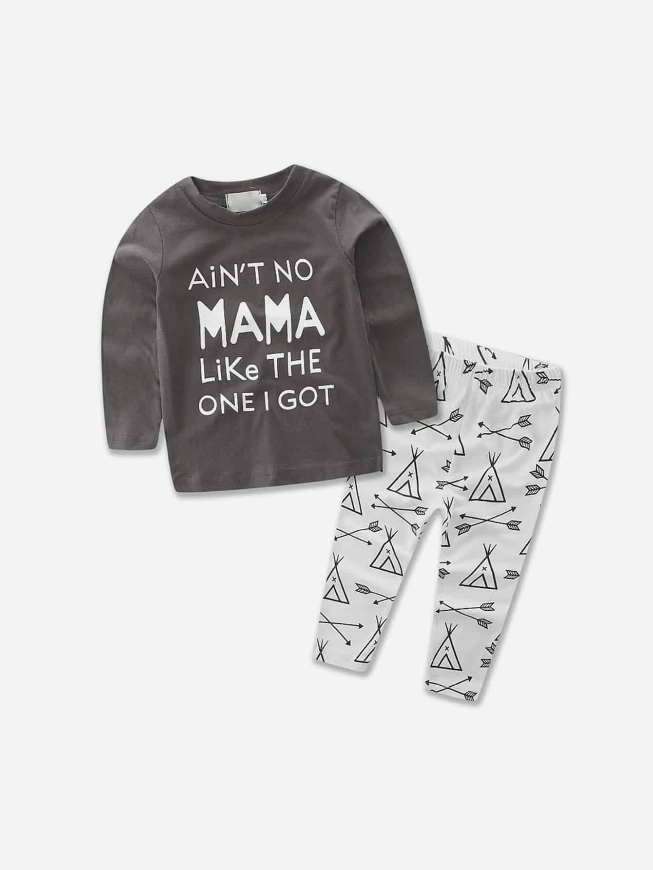 Купить Текст Коричневый Одежда для мальчиков из двух частей, null, SheIn