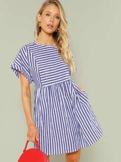Mixed Stripe Smock Dress