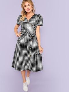 Puff Sleeve Asymmetric Placket Gingham Dress