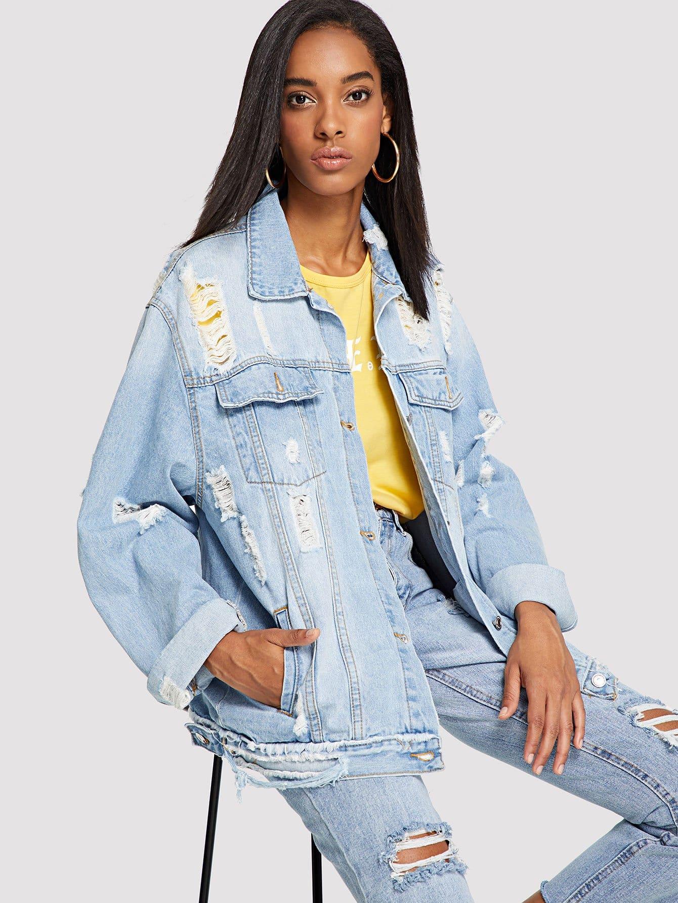 Купить Рваные джинсовая куртка с длинным рукавом, Victoria, SheIn