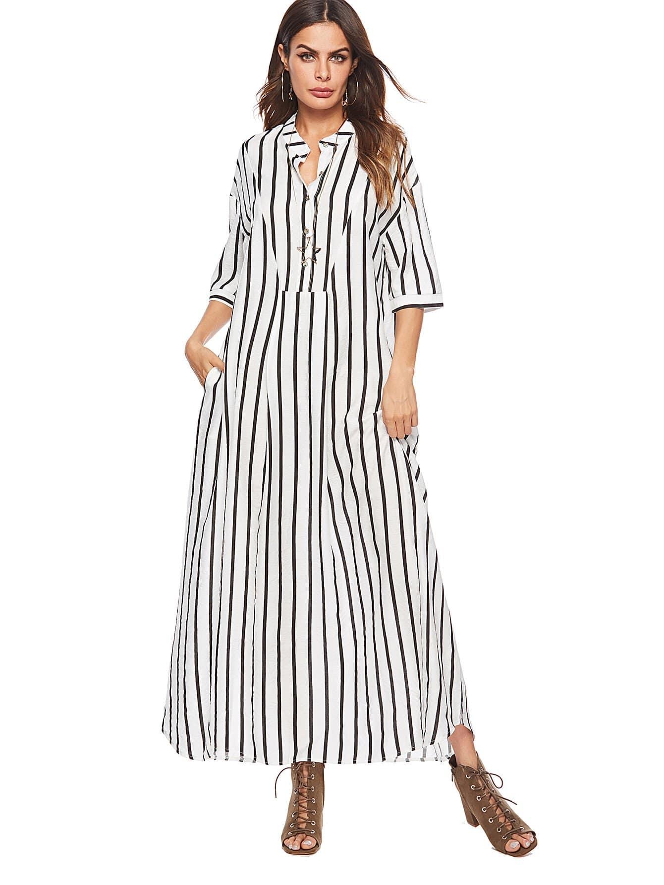 Купить Полосатое длинное платье с карманами, null, SheIn