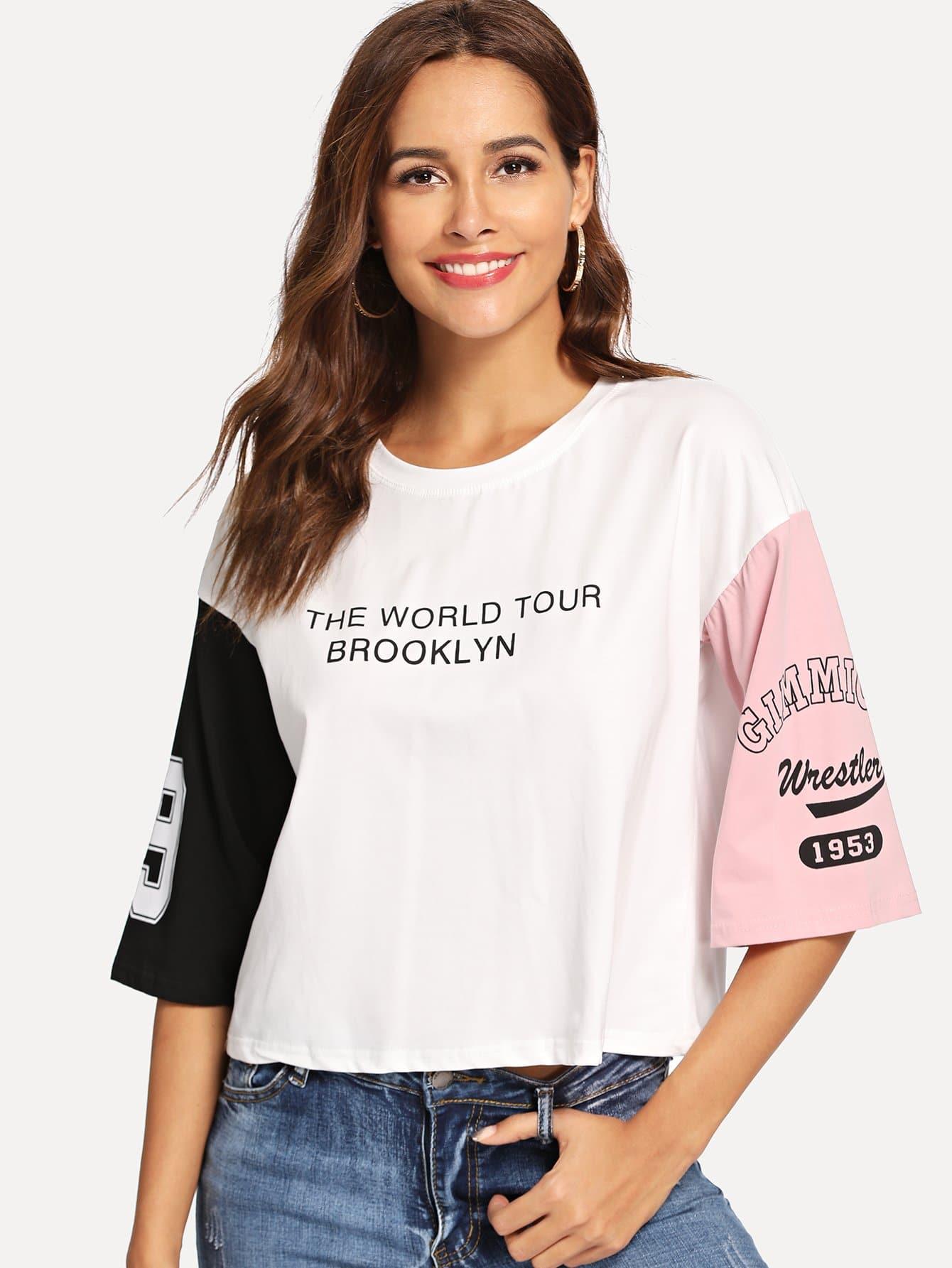 Купить Контрастная футболка с текстовым принтом, Giulia, SheIn