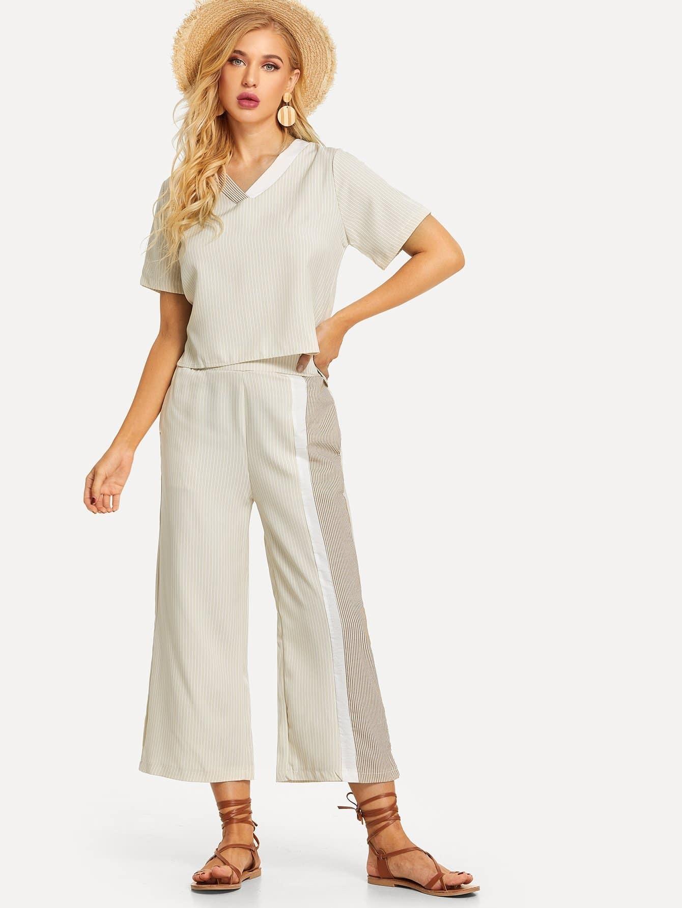 Купить С V-образным вырезом полосатая блузка и широкие брюки, SUSU, SheIn