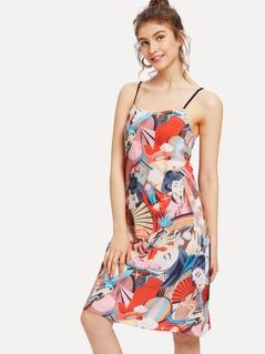 Figure Print Cami Dress