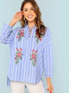 Drop Shoulder Embroidery Striped Shirt