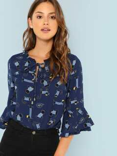 Ruffle Sleeve Allover Cartoon Print Blouse