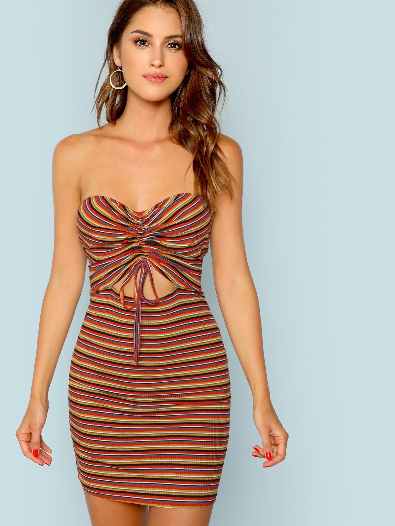 Купить Drawstring Front Ribbed Striped Dress, Gigi Paris, SheIn