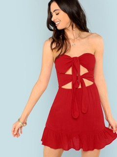 Knot Cut Out Front Ruffle Hem Strapless Dress