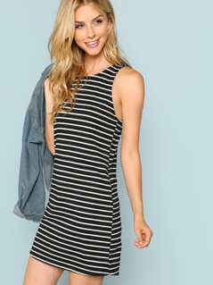 Inseam Pocket Side Striped Racer Tank Dress
