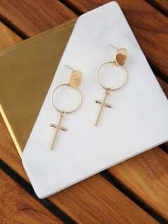 Hoop And Cross Earrings
