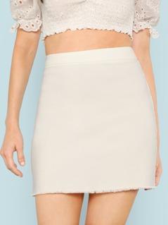 Frayed Hem Fitted Skirt