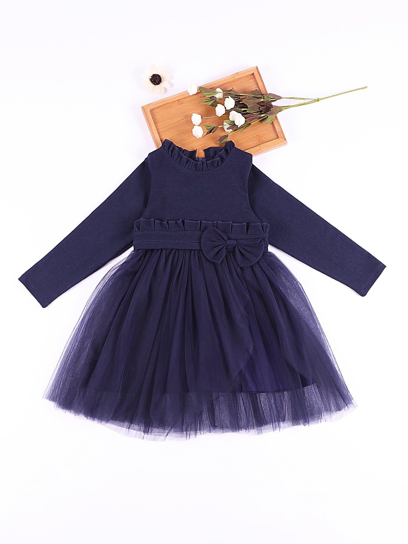 Girls Frill Trim Bow Detail Layered Mesh Dress girls embroidery detail frill trim blouse