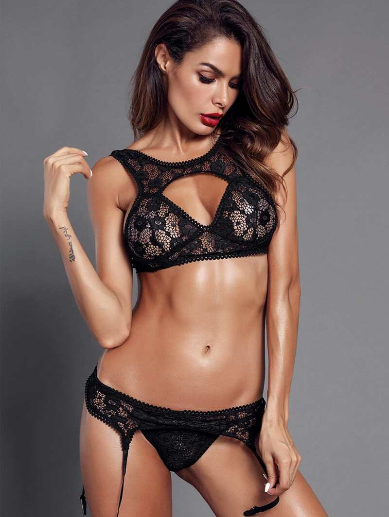 Cut-Out Floral Lace Lingerie Set With Garter, Black