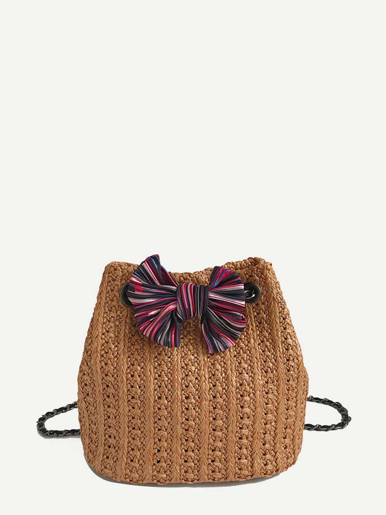Купить Повседневный Одноцветный лук коричный Посланник сумки, null, SheIn