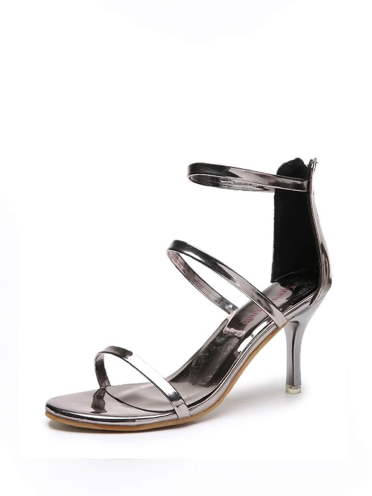 Zip Back Open Toe Sandals