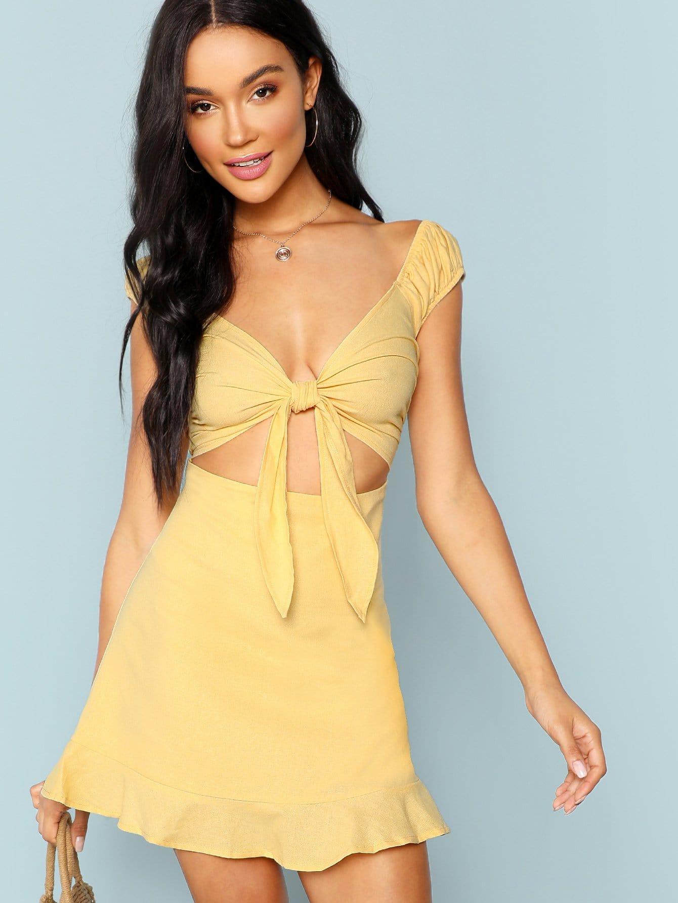 Купить Плоское платье и с украшением банта перед одежды и со складками, Juliette, SheIn