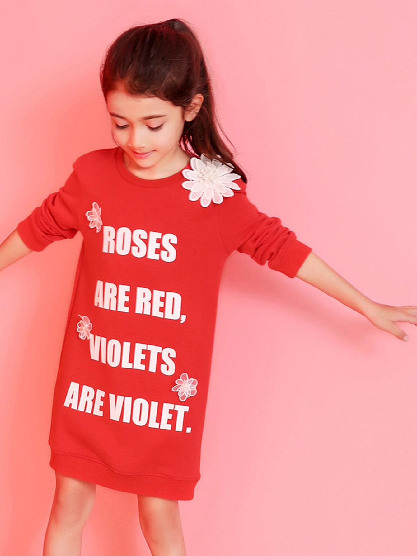 Купить Ситцевое платье с рисунками буквы для девочки, null, SheIn