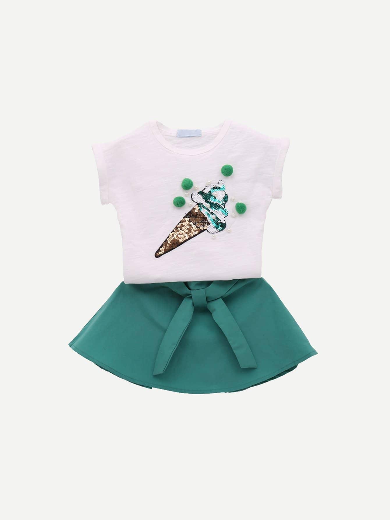 Купить Футболка с рисунком мороженого и юбка с поясом для девочки, null, SheIn