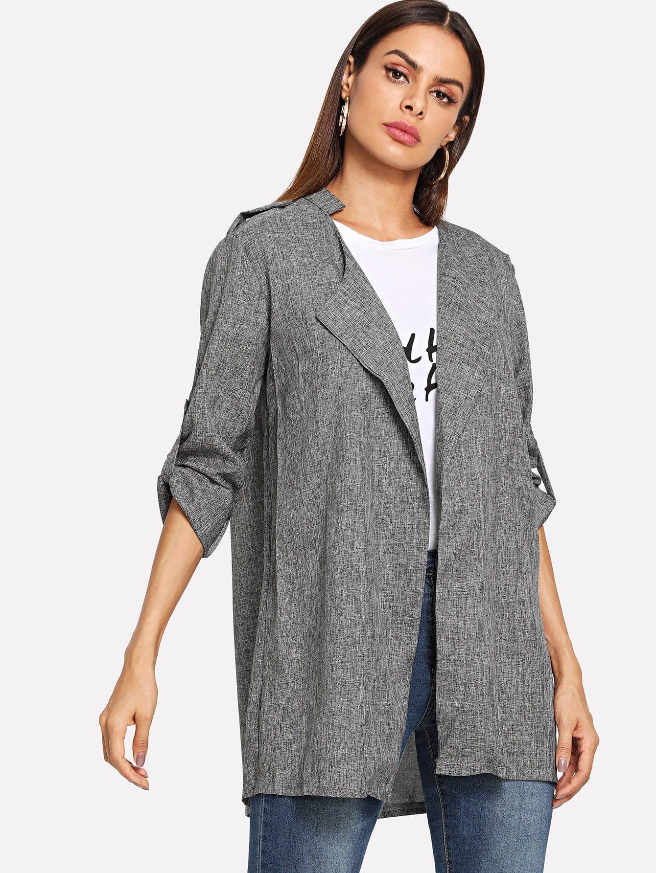 Купить Пальто с отложным воротником и со складками сзади одежды, Andy, SheIn