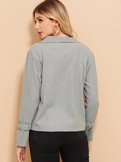 Romwe / Buckle Detail Sleeve Coat