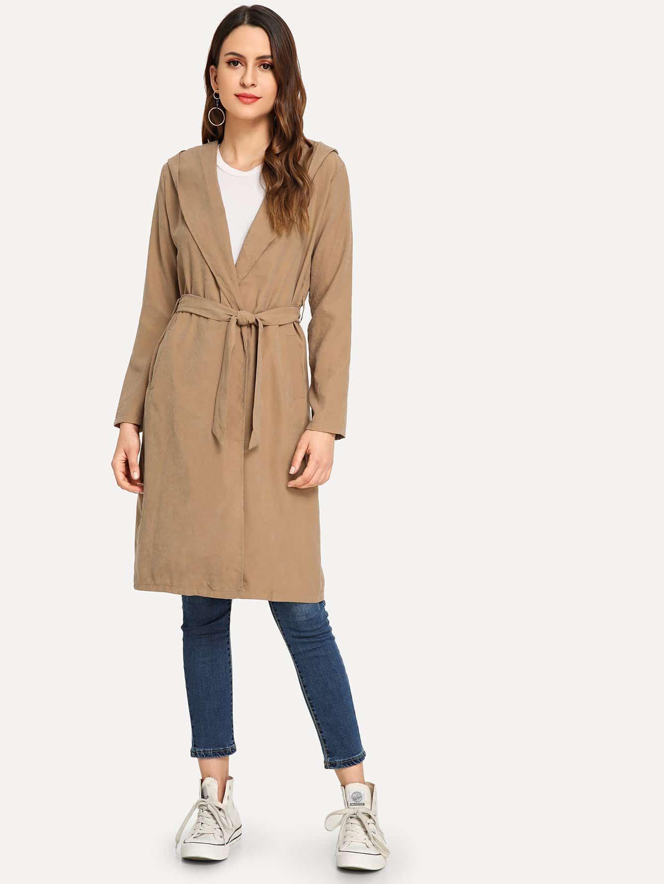 Пальто с капюшоном и с поясом SheIn