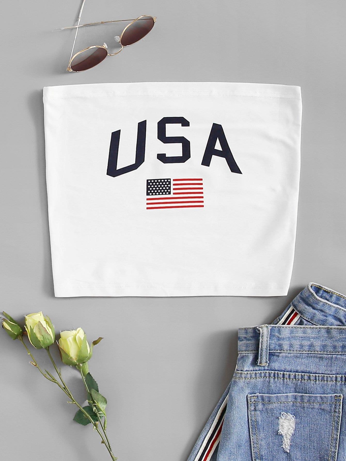 Top mit Amerikanische Flagge Muster