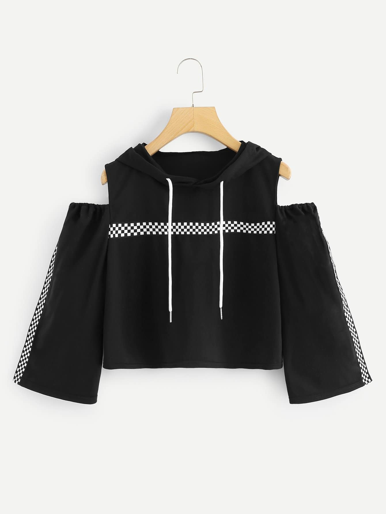 Open Shoulder Gingham Sweatshirt