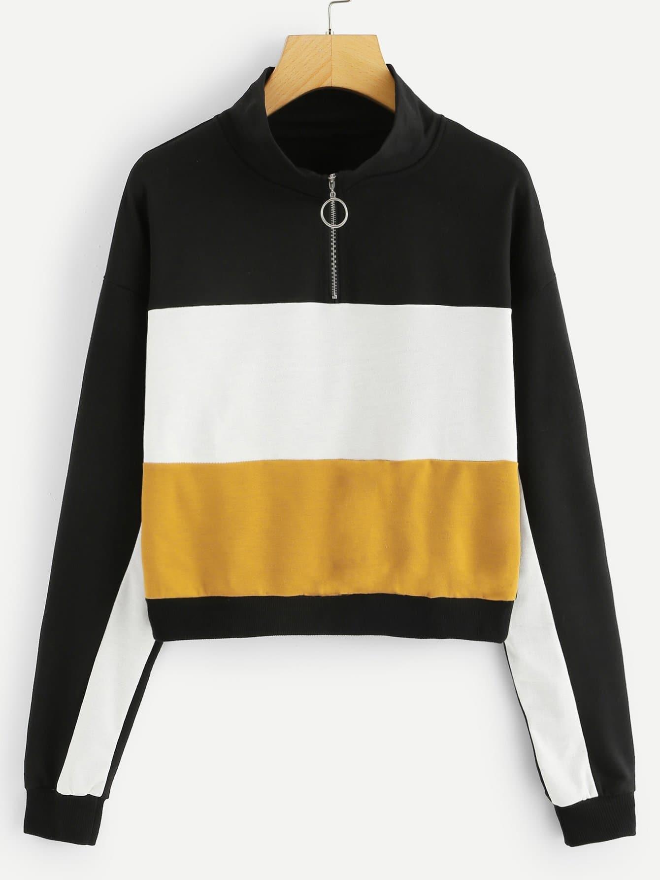 Купить Контрастный пуловер с застёжкой молния, null, SheIn