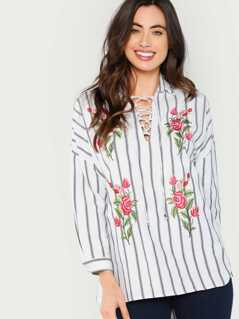 Floral Embroidered Striped High Low Shirt