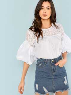 Lace Yoke Bell Sleeve Top