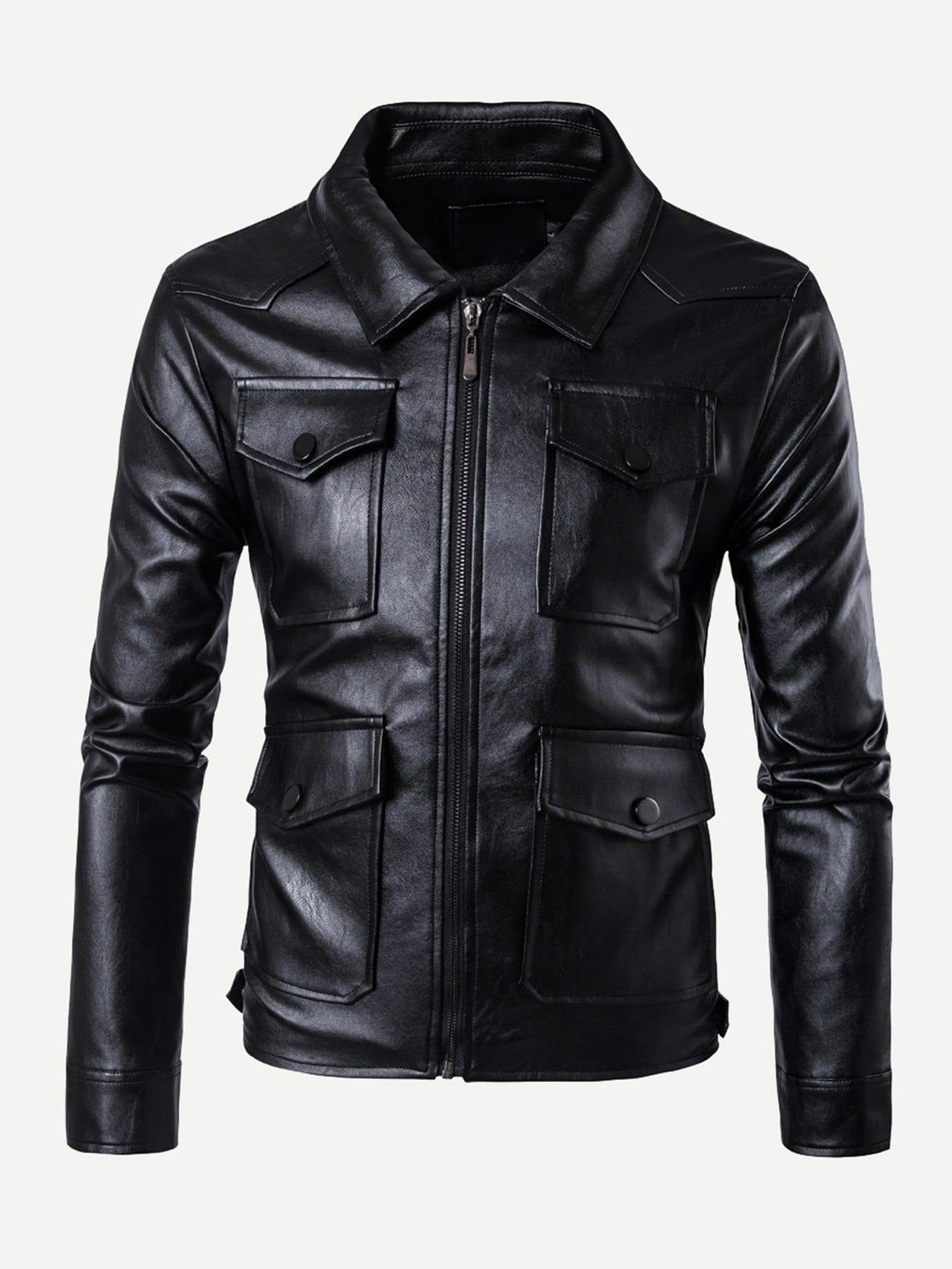 Men Pocket Decoration Plain Pu Jacket