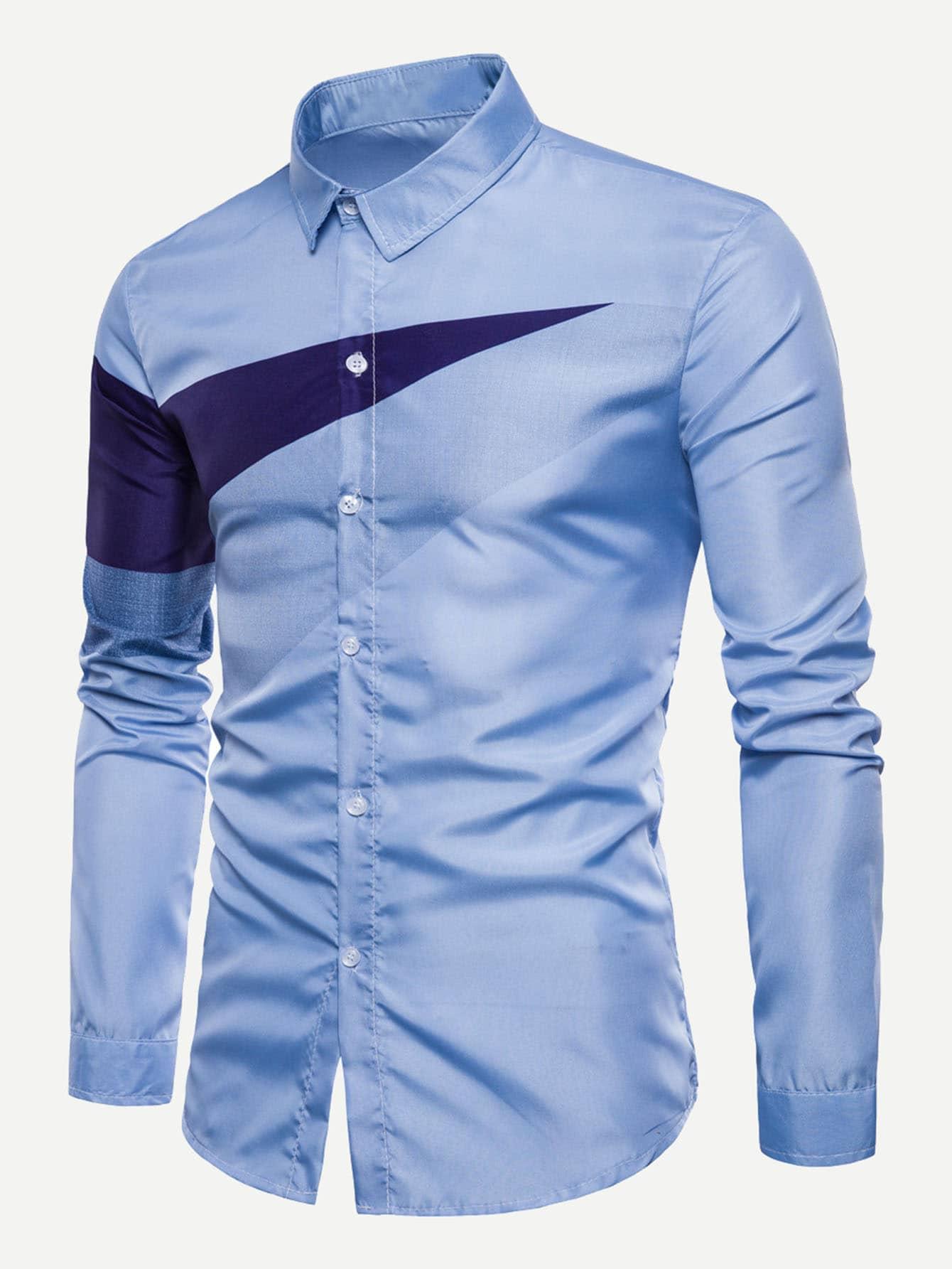 Купить Симметрическая футболка и рольный подол для мужчины, null, SheIn