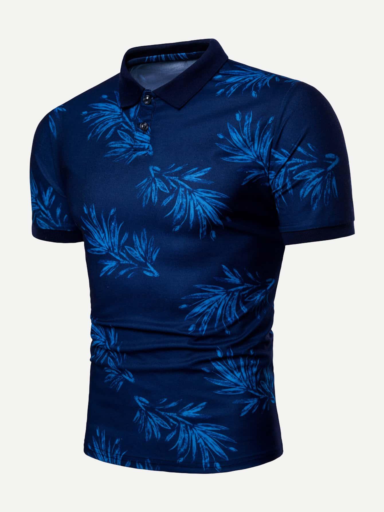 Men Leaf Print Polo Shirt все цены