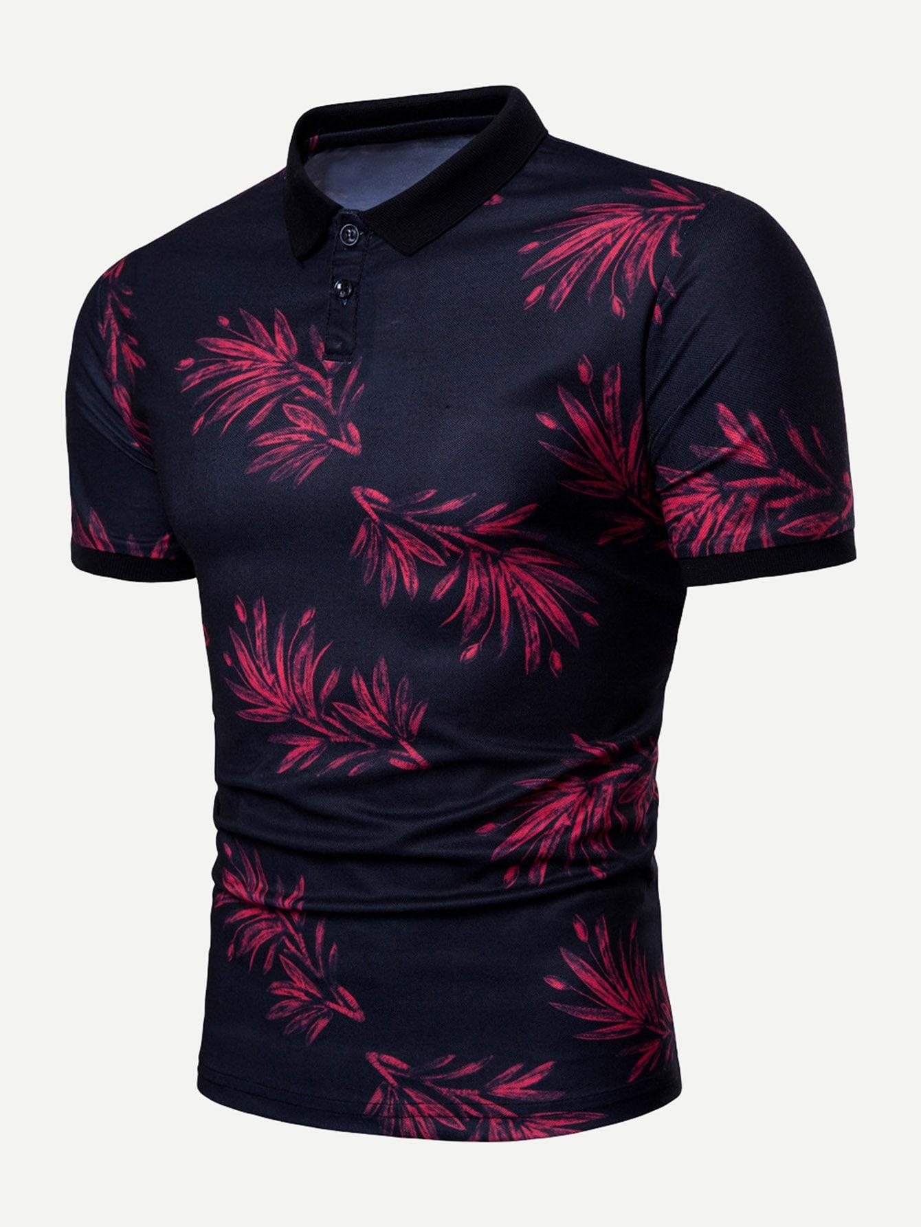 Купить Поло футболка с рисунками листьев для мужчины, null, SheIn