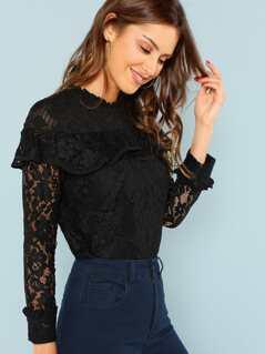 Flounce Embellished Sheer Lace Blouse