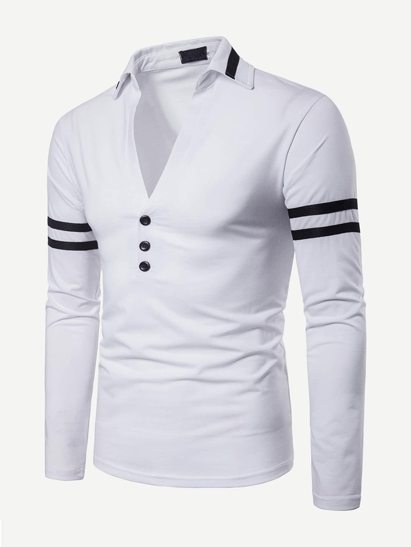 Men Varsity Striped V Neck Polo Shirt